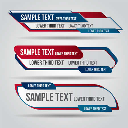 Lower third live red and blue design tv template modern contemporary. Set of banners bar screen broadcast show bar name. Collection of lower third for video editing on transparent background.