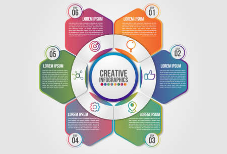 Infographics chart 6 steps options business concept horizontal timeline process template. Vector modern banner used for presentation and workflow layout diagram, web design. world map.