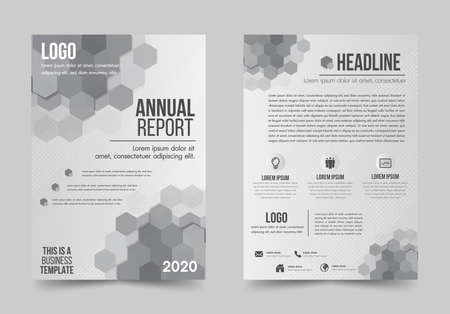Brochure design flyer template white and gray color geometric shapes design layout, annual report, magazine, poster, corporate report, banner, website.