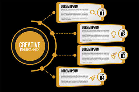 Infographics 4 options or steps circle elements chart black template.Abstract of graph, diagram options, parts or processes.Vector business for presentation.Creative concept for data. Иллюстрация