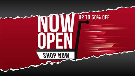Now open shop or new store red and orange color fire sign on black background.Template design for opening event.Can be used for poster ,flyer , banner. Иллюстрация