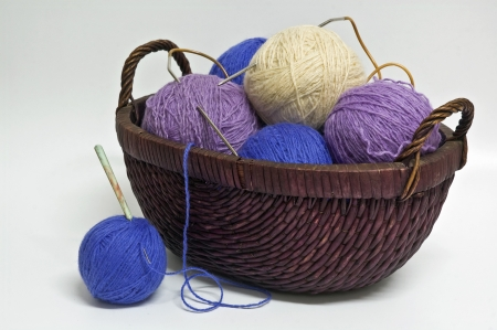still life with a colored thread in skein