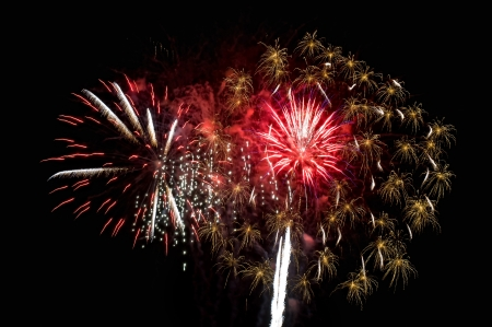 Fireworks, salute with the black sky background