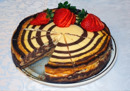 homemade cake with chocolate and strawberries photo