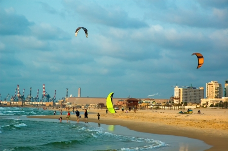kite surfing on the mediterranean coast, ashdod, israel