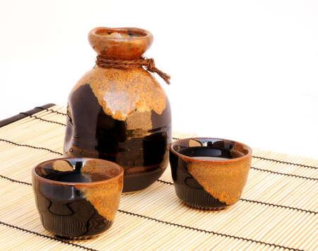 sake: Japanese Sake set on bamboo