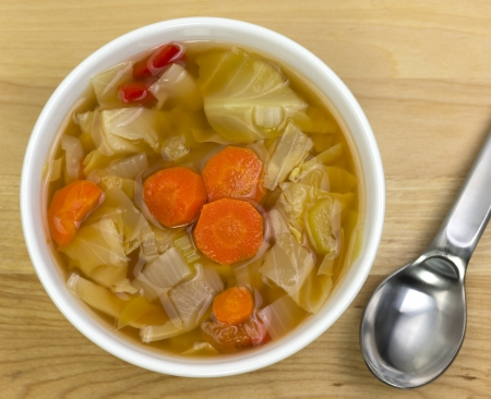a bowl of cabbage soup
