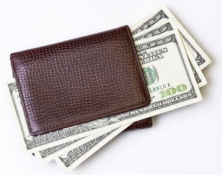 brown wallet with money Banco de Imagens