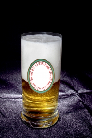 glass of beer with label  on the black background back light- isolated path Stock Photo - 16484172
