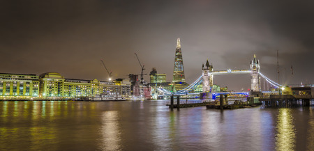 Panorama of Tower Bridge and Shard skyscraper, London skyline, United Kingdom photo