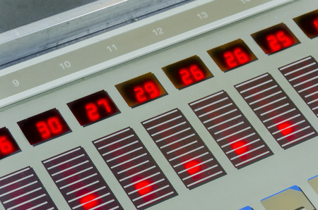 offset machine press print run at table, fountain key control unit close-up