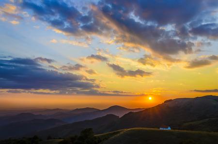 majestic mountain: Majestic sunset in the mountains landscape. Dramatic sky and dark mountain peaks. Osogovo, Macedonia, Europe.