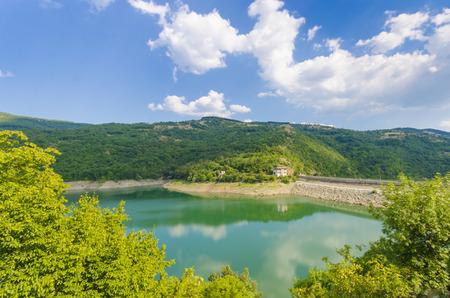 Panoramic view of the hydro dam Macedonia Stock Photo