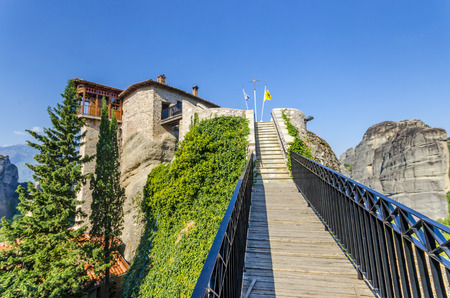 panoramatic: meteora monastery wide angle of bridge, Meteora Rousanou Greece Stock Photo