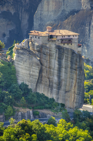 panoramatic: meteora monastery at dusk, The famous hanging monastery of Meteora, Greece.