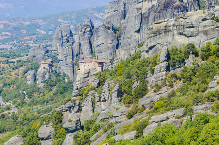 kalampaka: Hot day on Moni Agias Varvaras Roussanou on top of rock Meteora mountain, Greece.
