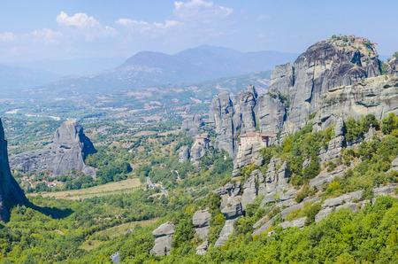 kalampaka: monastery Agias Varvaras Roussanou on top of rock Meteora mountain, Greece. Stock Photo