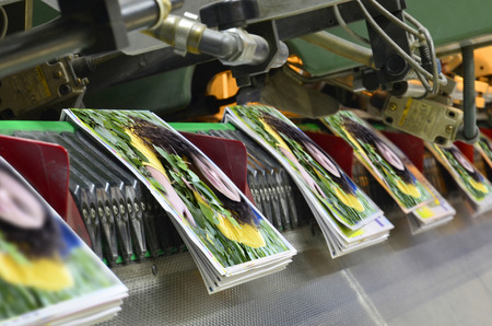 Brochure and magazine stitching process. Close-up of the  offset conveying process of a full-automatic stitching unit. Stock Photo