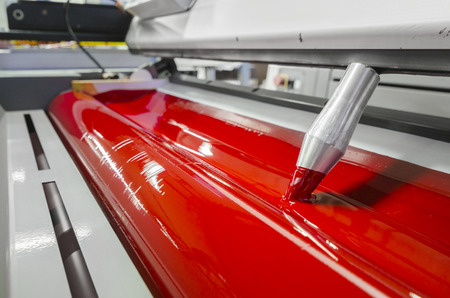 offset: Offset press machine in printing house Stock Photo