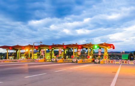 toll: toll station, highway and vehicle