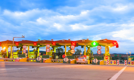 toll: Toll Booths - Stock Image. photo taken from vehicle approaching a toll booth station