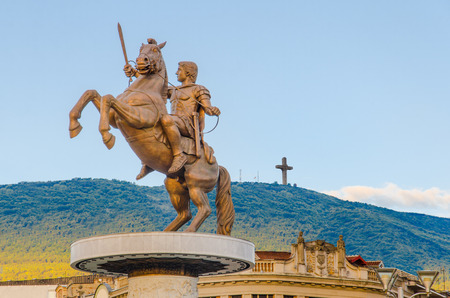 the great outdoors: Warrior on a Horse statue  Alexander the Great , Skopje Stock Photo