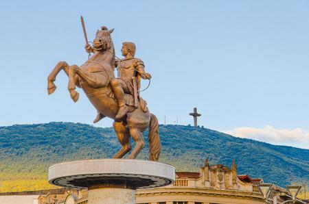 alexander: Warrior on a Horse statue  Alexander the Great , Skopje Stock Photo