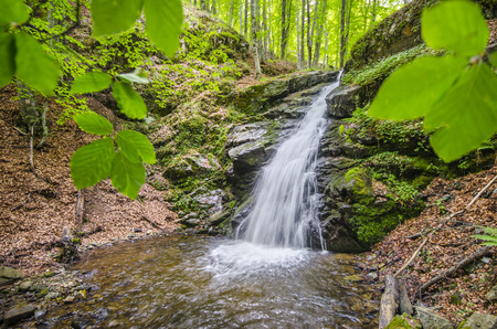 Famous Waterfall in Spring Pehcevo, Macedonia hidden in deep in ecology clean environment forest photo
