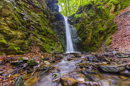 clean environment: Famous Waterfall in Spring Pehcevo, Macedonia hidden in deep in ecology clean environment forest, Macedonia, wide angle shoot