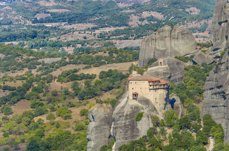 kalampaka: Meteora monastery in greece. The famous Meteora monastery above the city of Kalampaka.