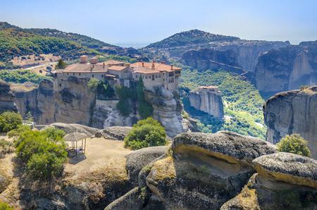 kalabaka: Mist at Meteora Monastery Greece