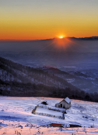 skie: sunset on the high altitude mountain  high altitude sunset