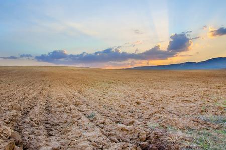 autumn fielad on the sunset, ready ground soil for seeding