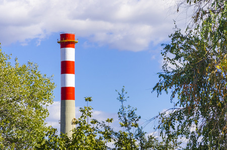 industrial chimney on blue sky among green foliage photo