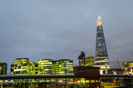 Dusk on the new London skyline and the Shard skyscraper.  Long exposure  Shot in 2013