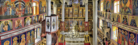 ideal: beautiful church interior and icons panorama