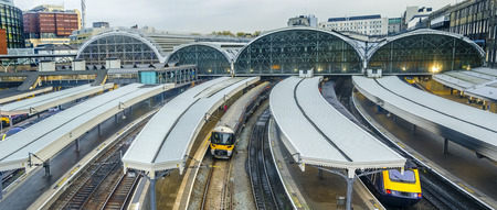 Train leaves Paddington railway station in London, UK, panorama Stock Photo