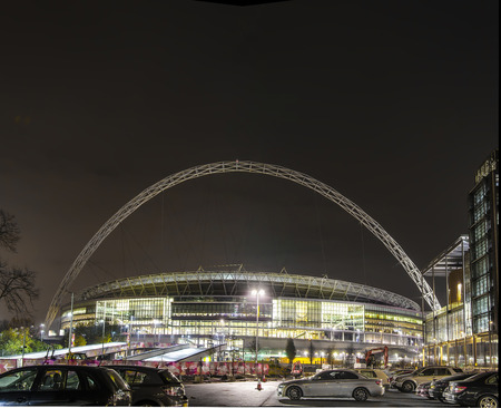 wembley: Wembley Stadium at night Editorial