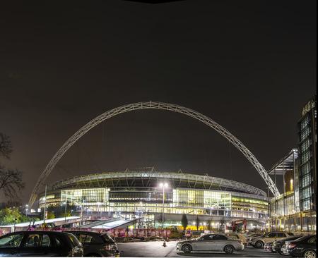 wembley: Wembley Stadium at night Editorial