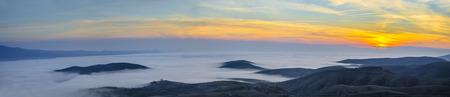 rhone: Panoramic view on Rhone valley - Switzerland  Beauty colourful sunrise  Stock Photo
