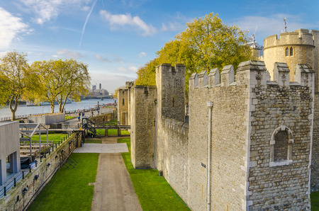 The Tower of London in autumn, medieval castle and prison, UK, England Фото со стока