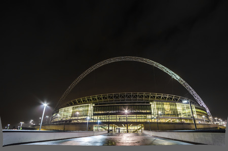 wembley: The stadium at night in london  Editorial