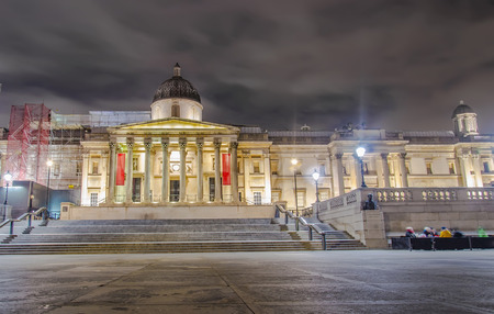 british weather: National Gallery and Trafalgar Square in the Night, London, United Kingdom