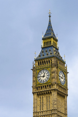 Vintage look Big Ben Houses of Parliament Westminster Palace London gothic architecture, London, UK photo