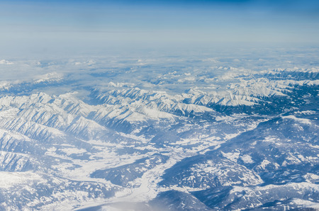 arctic landscape: Aerial view of Alps mountains Stock Photo