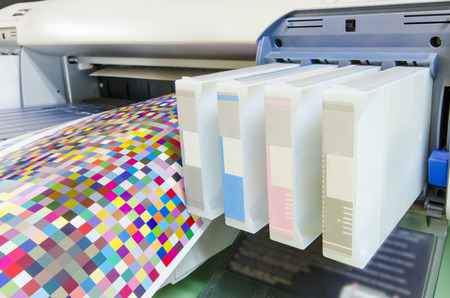 digital printing: large format ink jet printer cartridge with color managament target paper roll