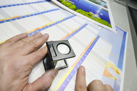 pre approval: Press color management - print production loupe controll Stock Photo