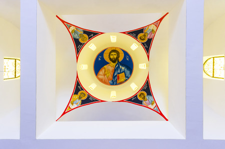 orthodoxy: Interior of the Church with Jesus Christ paint on the ceiling Editorial