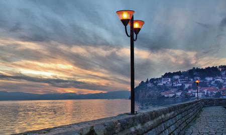 Sunset light and dramatic claud sky at Ohrid lake, Macedonia