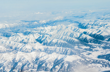 snow capped mountain: Alps mountains, aerial view